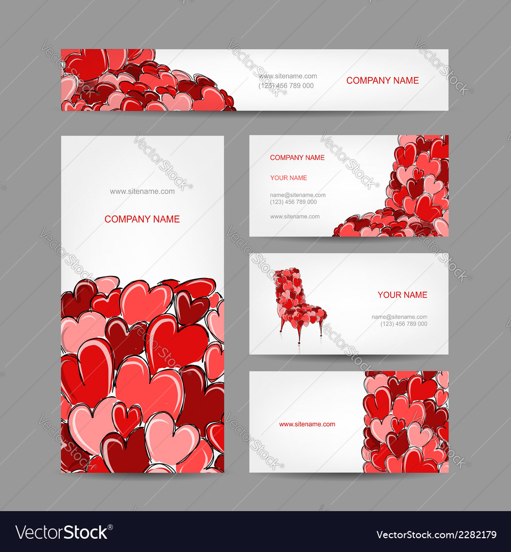 Set of valentine cards for your design vector | Price: 1 Credit (USD $1)
