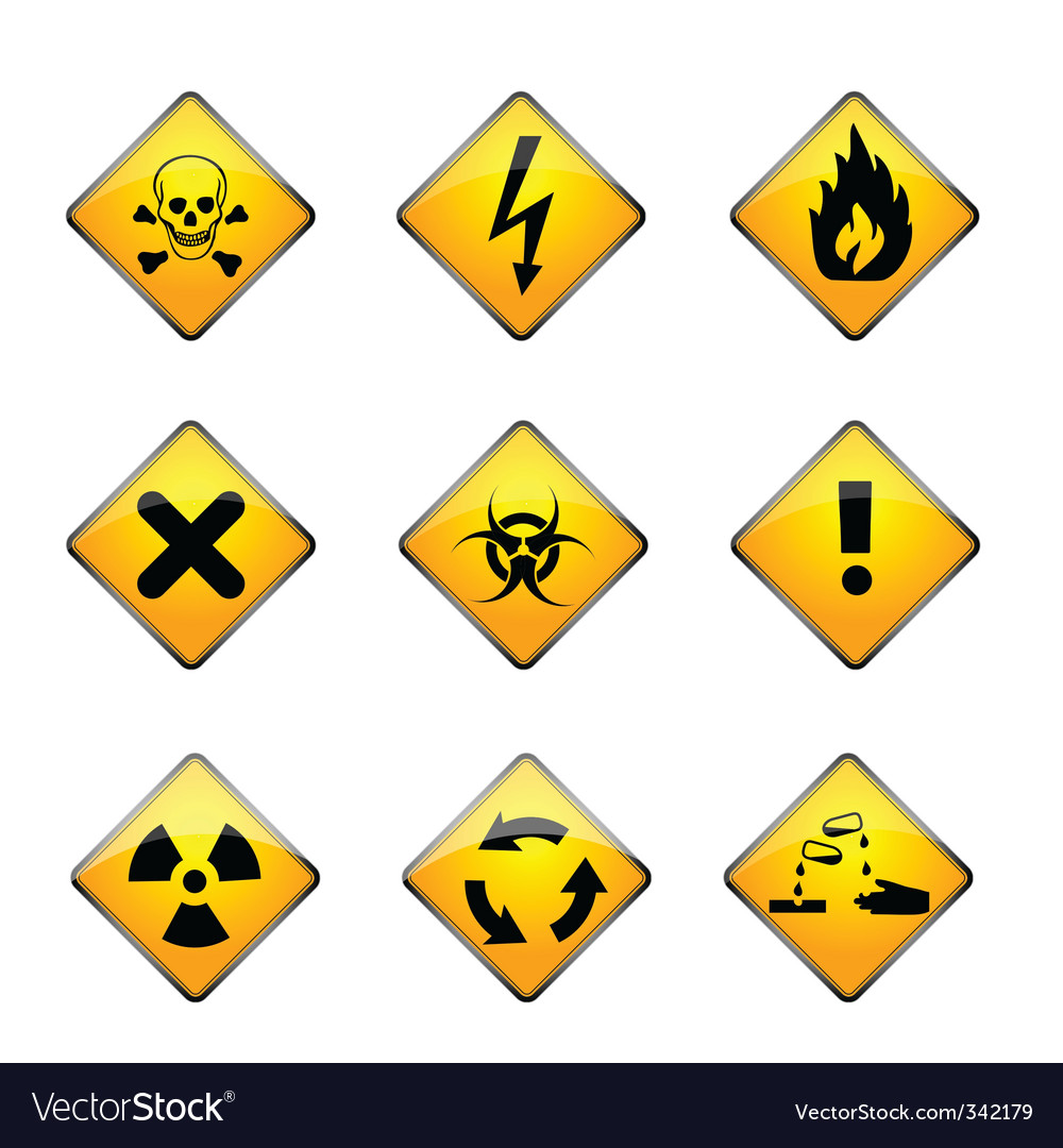 Set of warning icons vector | Price: 1 Credit (USD $1)