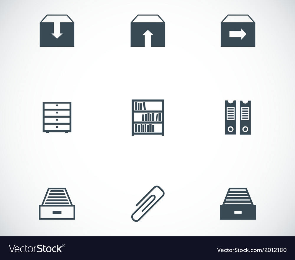 Black archive icons set vector | Price: 1 Credit (USD $1)