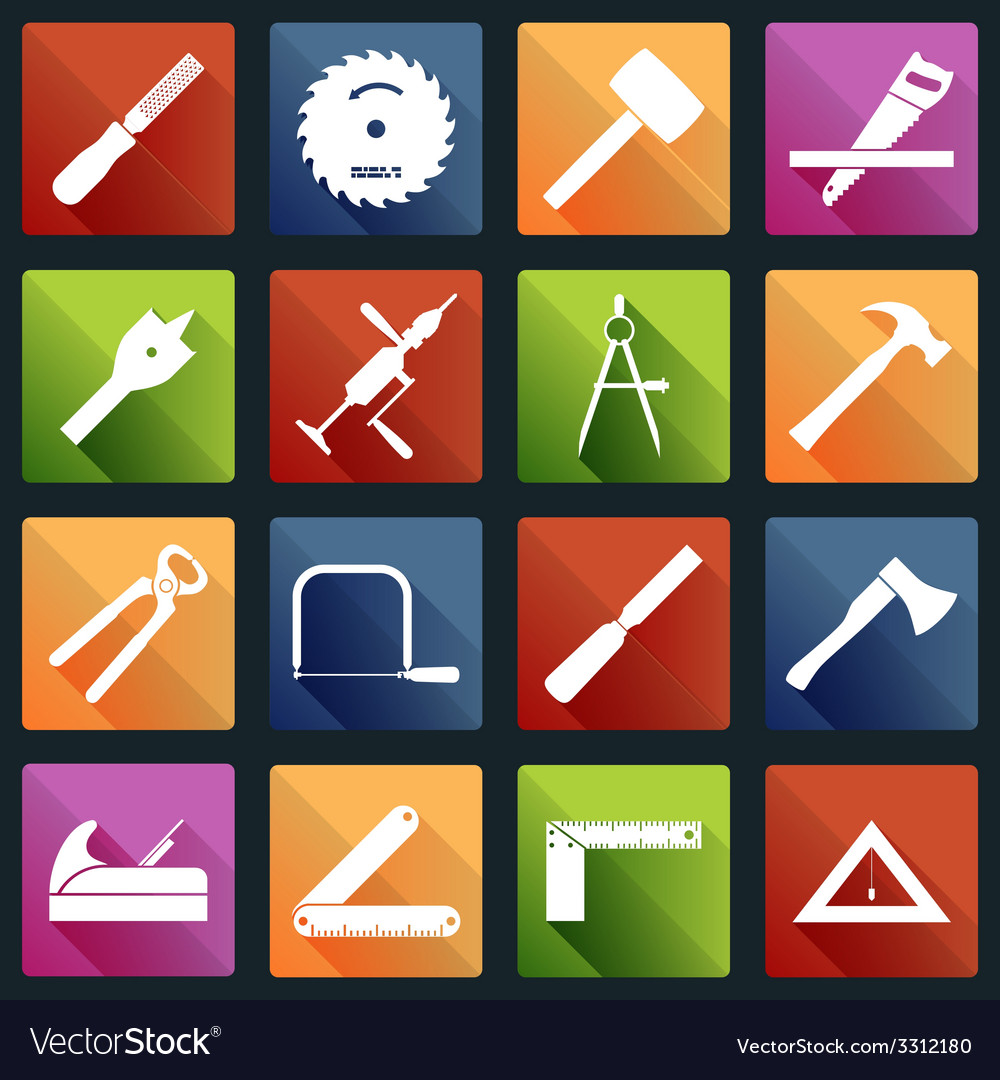 Carpentry tools icons white vector | Price: 1 Credit (USD $1)