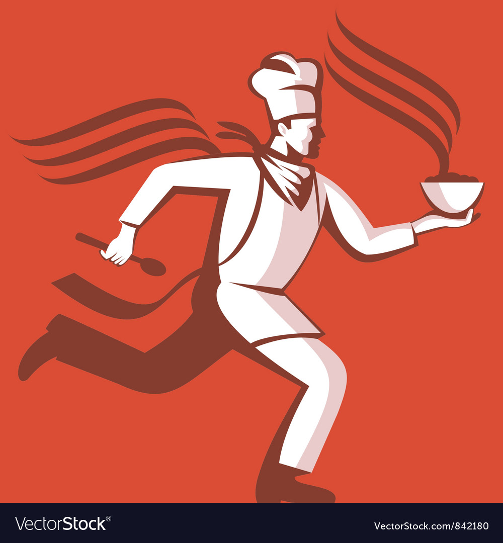Chef cook baker running with soup bowl vector | Price: 1 Credit (USD $1)