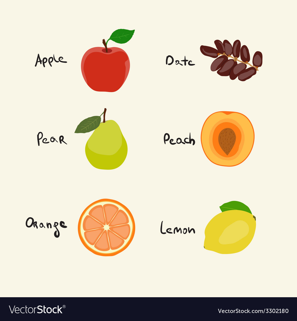 Collection of 6 fruits icons vector | Price: 1 Credit (USD $1)