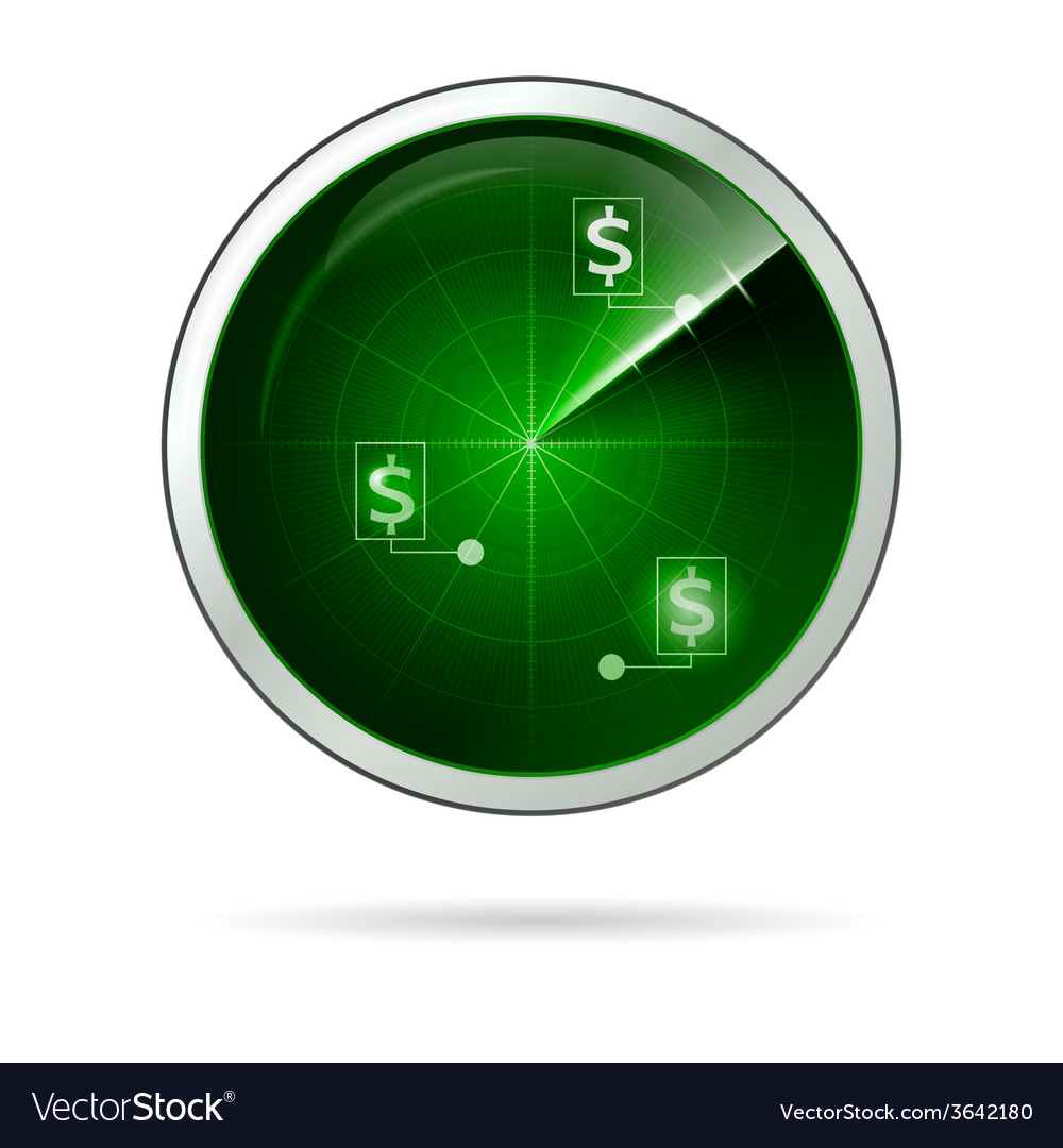Green locating radar for business vector