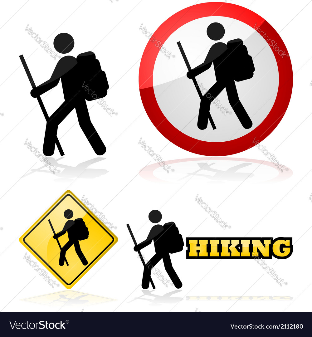 Hiking sign vector | Price: 1 Credit (USD $1)
