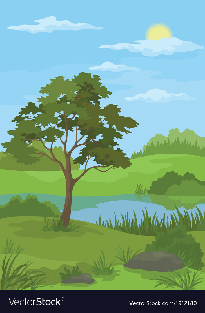Landscape pine tree and lake vector | Price: 1 Credit (USD $1)