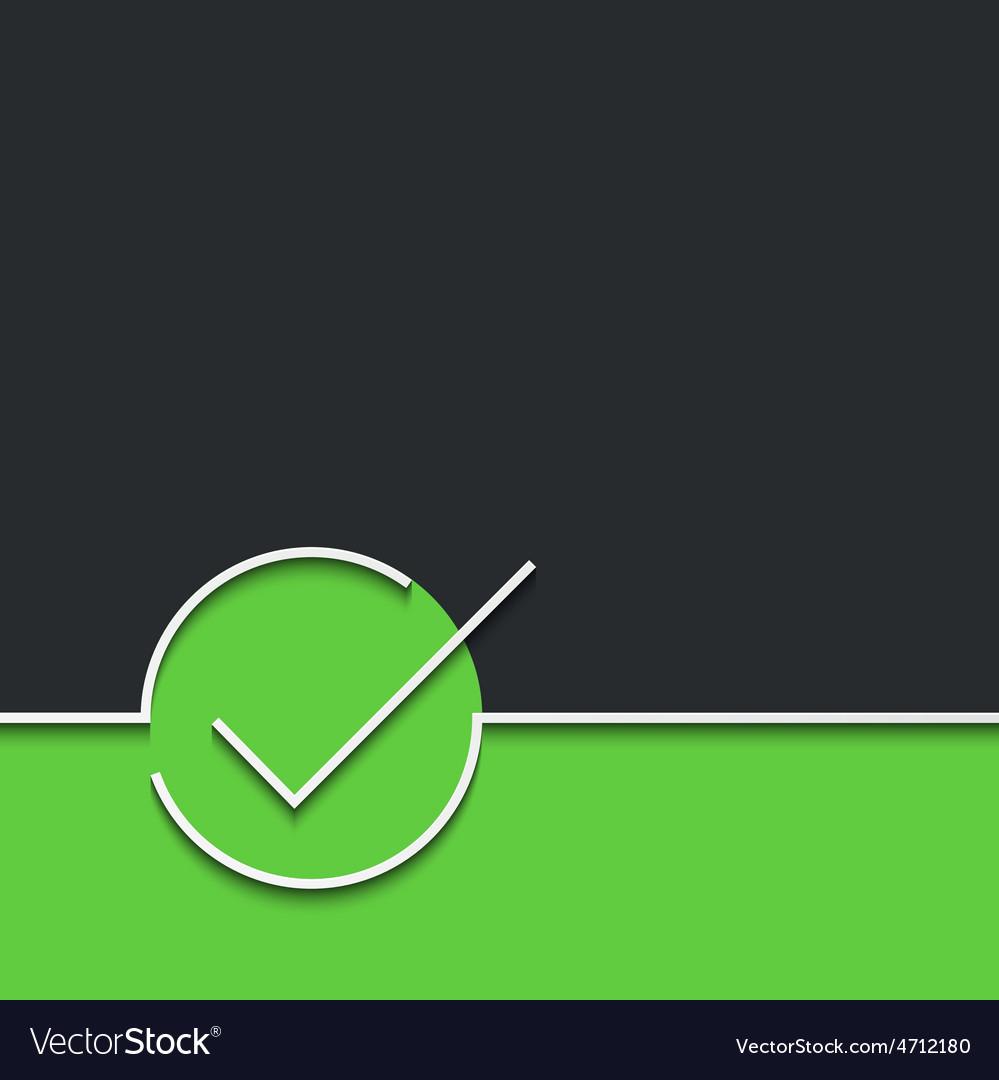 Modern green check mark on black vector | Price: 1 Credit (USD $1)