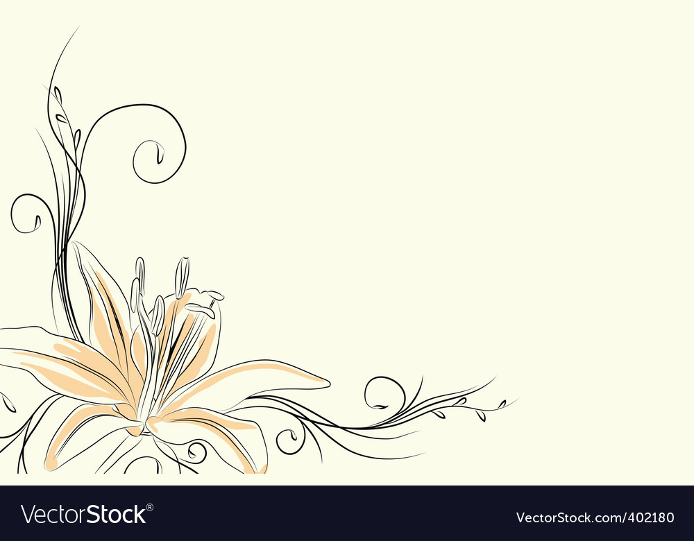Outline lily vector | Price: 1 Credit (USD $1)