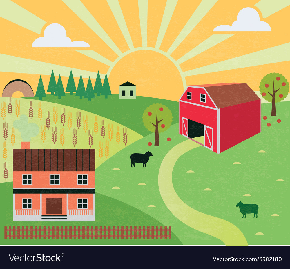 Rural landscape with farm and hills vector | Price: 1 Credit (USD $1)