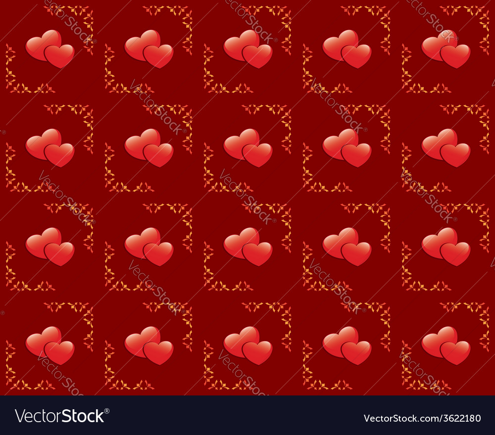 Seamless red texture with hearts vector | Price: 1 Credit (USD $1)