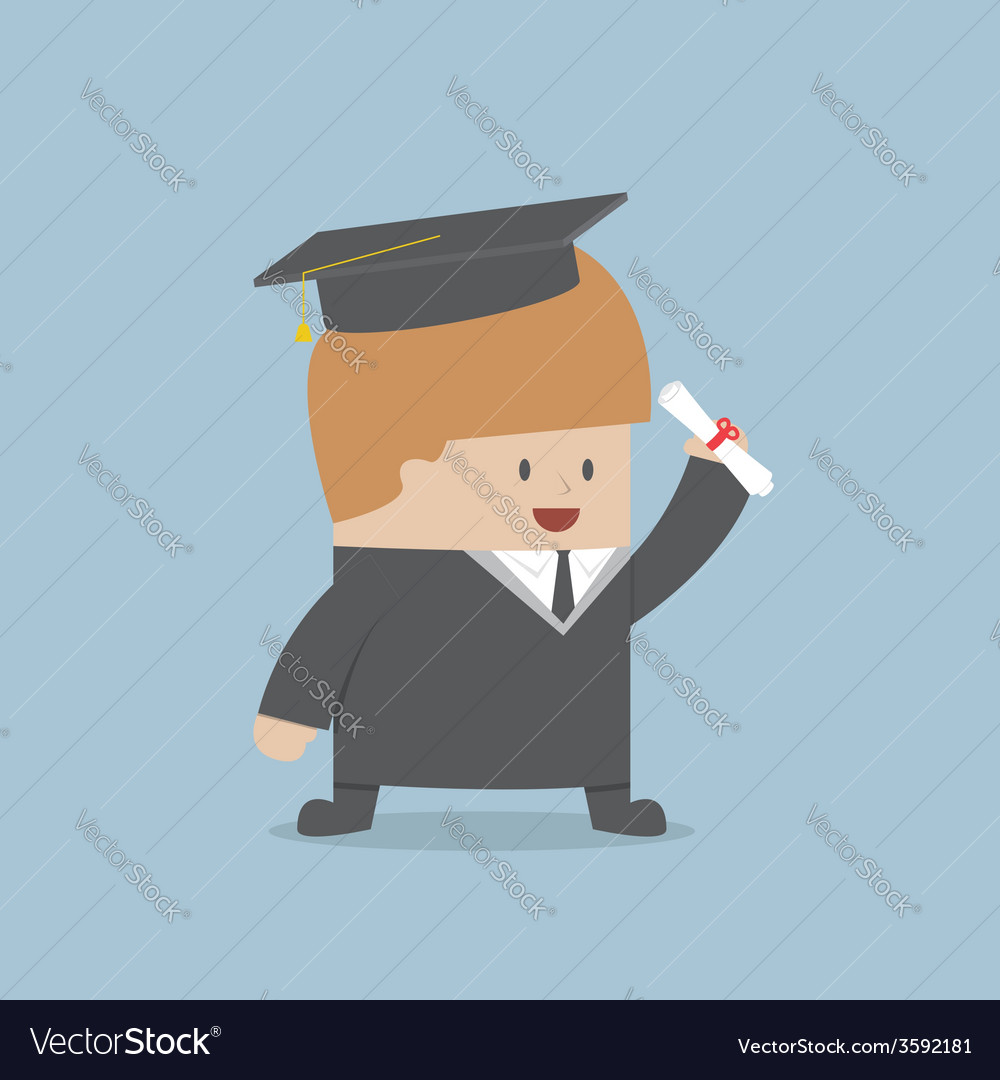 Businessman graduate in gown and graduation cap vector | Price: 1 Credit (USD $1)