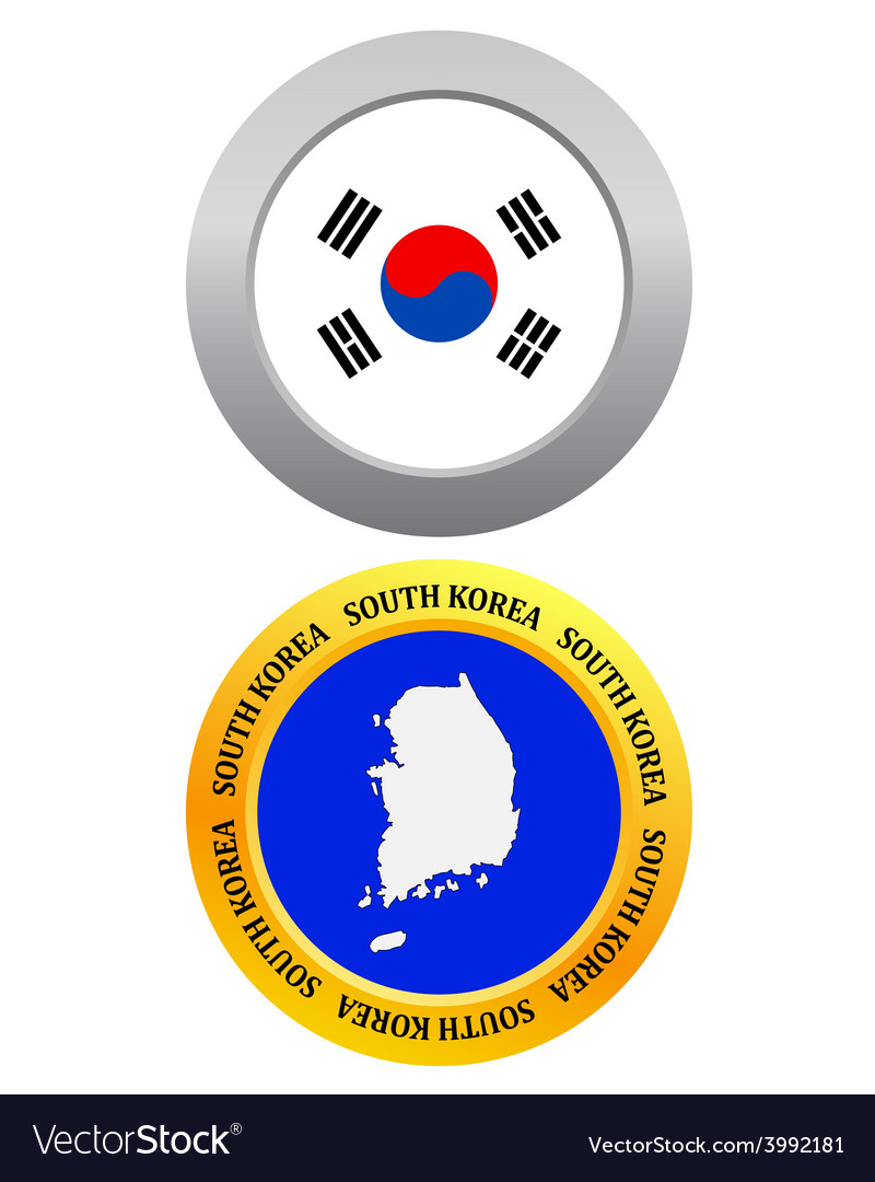 Button as a symbol map south korea vector | Price: 1 Credit (USD $1)