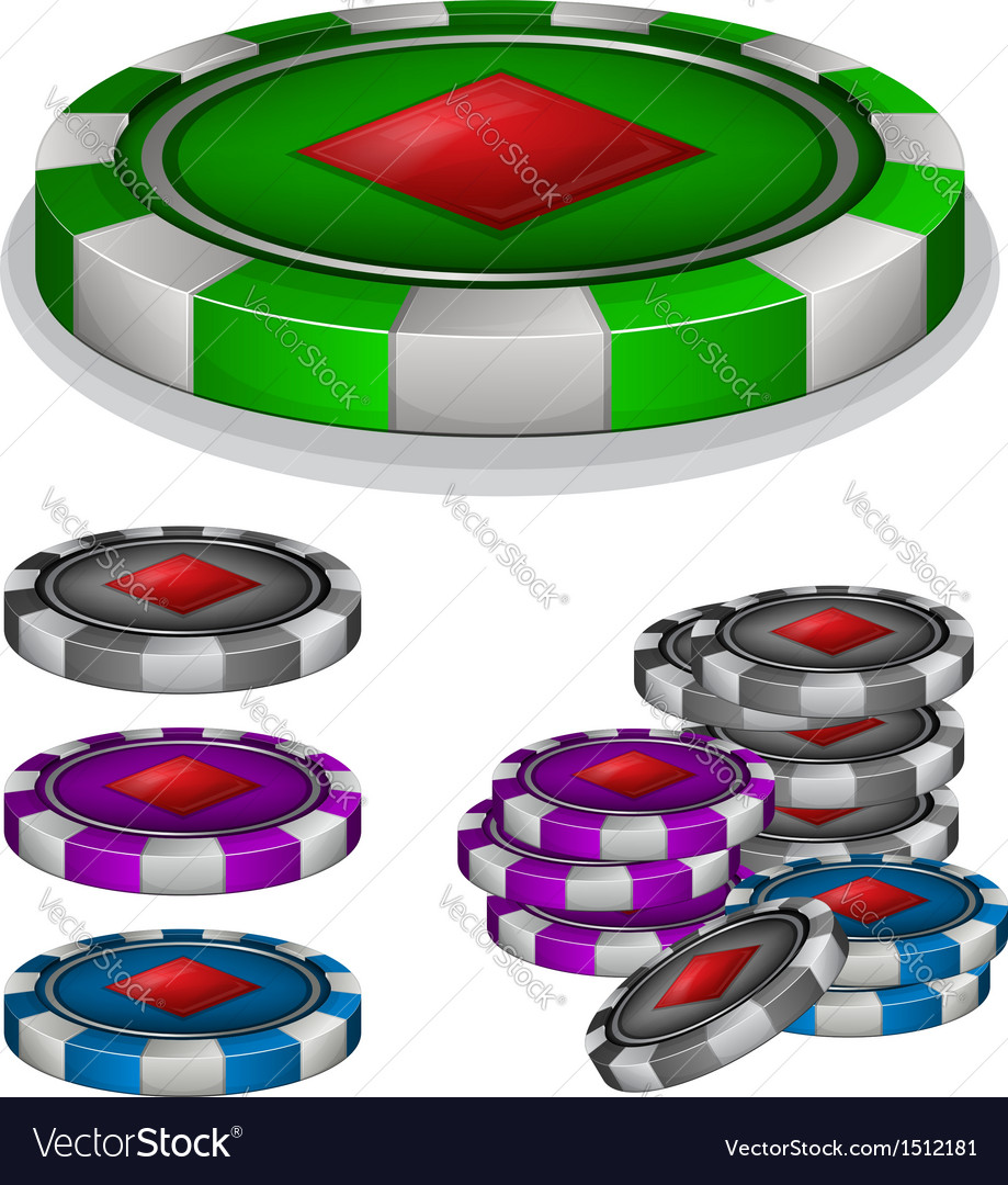 Casino chips with diamonds sign vector | Price: 1 Credit (USD $1)