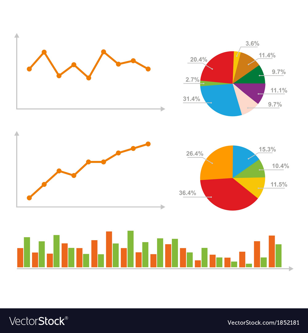 Charts statistics and pie diagram vector | Price: 1 Credit (USD $1)