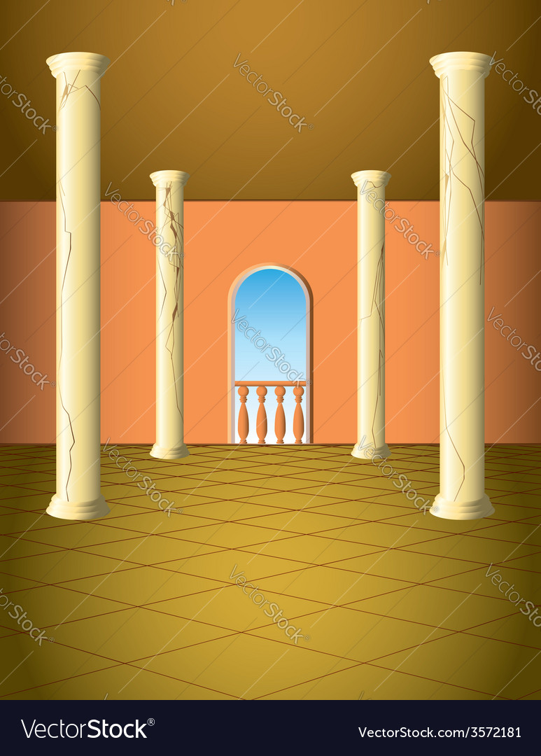 Column hall with window vector | Price: 1 Credit (USD $1)