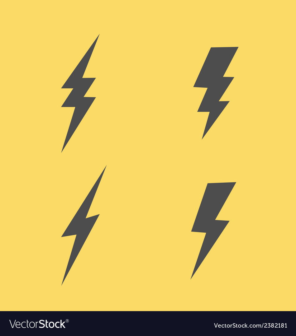 Lightning flat icons set vector | Price: 1 Credit (USD $1)
