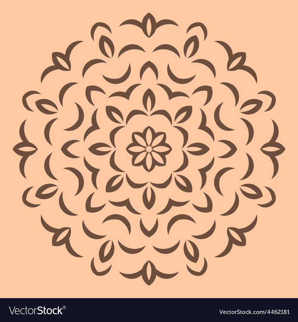 Round brown flower pattern on beige backround vector | Price: 1 Credit (USD $1)