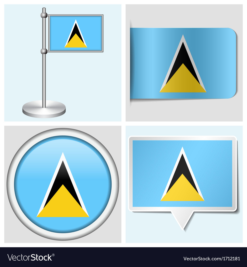 Saint lucia flag - sticker button label vector | Price: 1 Credit (USD $1)