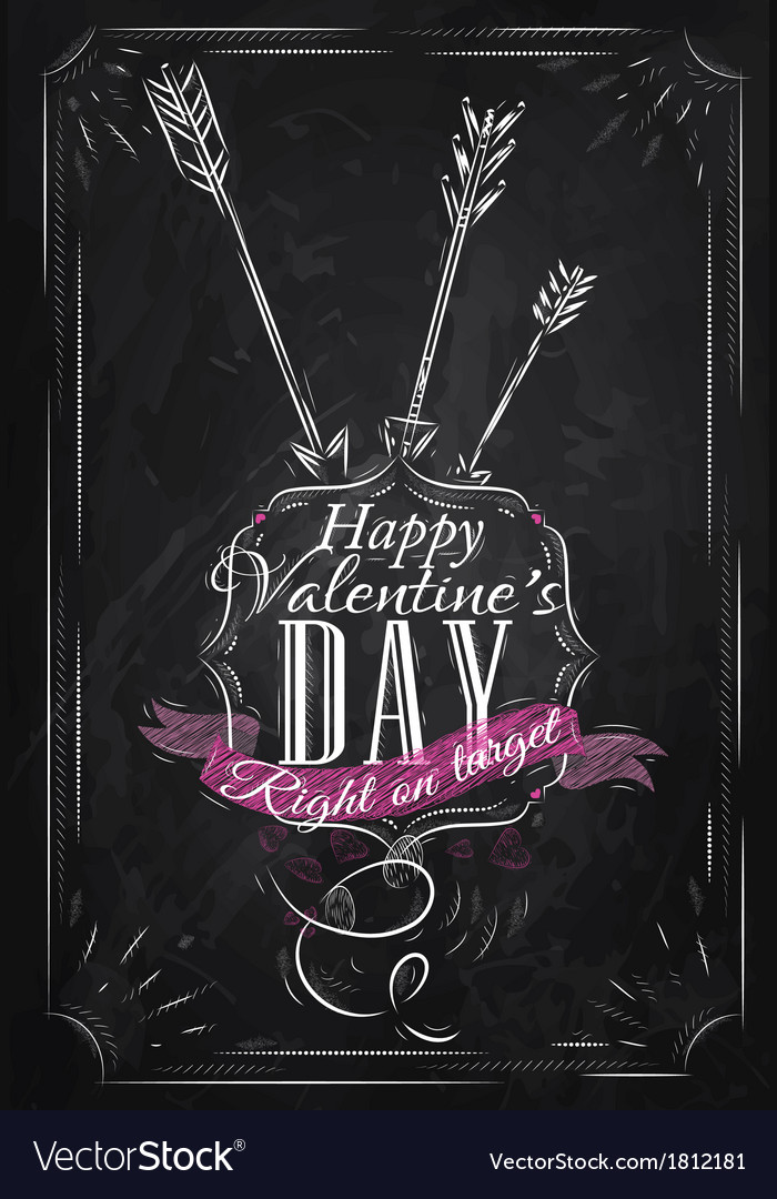 Valentines day poster chalk vector | Price: 1 Credit (USD $1)