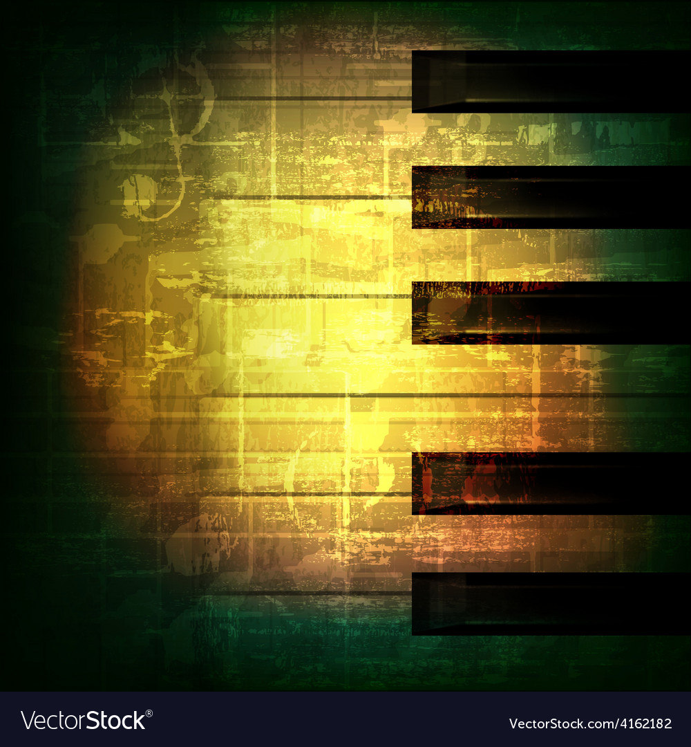 Abstract green grunge music background with piano vector | Price: 3 Credit (USD $3)