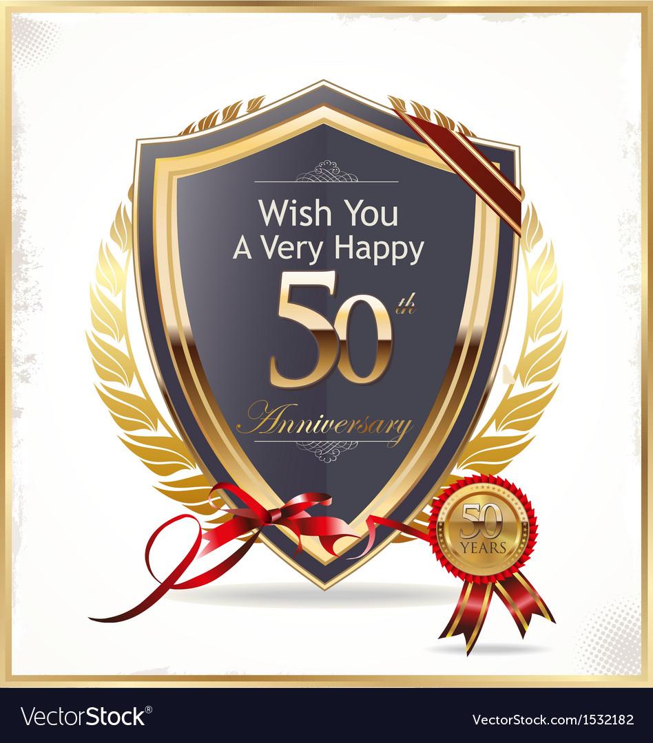 Anniversary golden shield vector   Price: 1 Credit (USD $1)