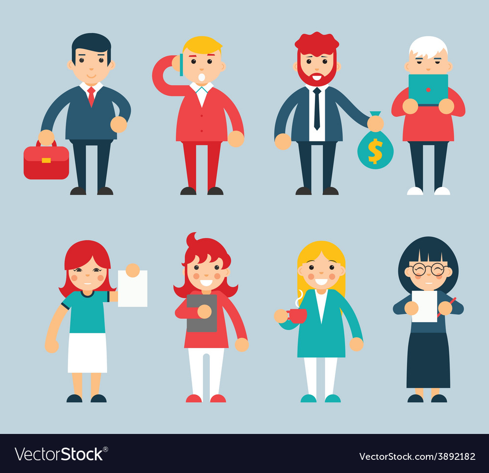 Business male and female characters with vector | Price: 1 Credit (USD $1)