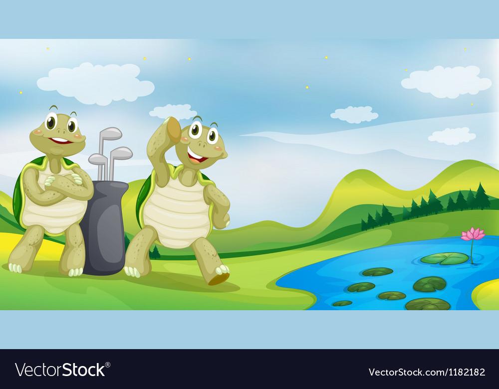 Cartoon golfing turtles vector   Price: 1 Credit (USD $1)
