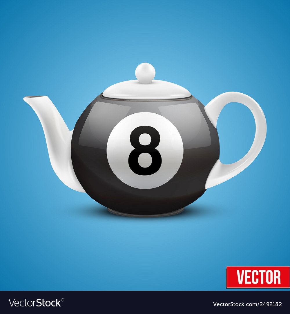 Ceramic teapot in billiard pool ball style vector | Price: 1 Credit (USD $1)