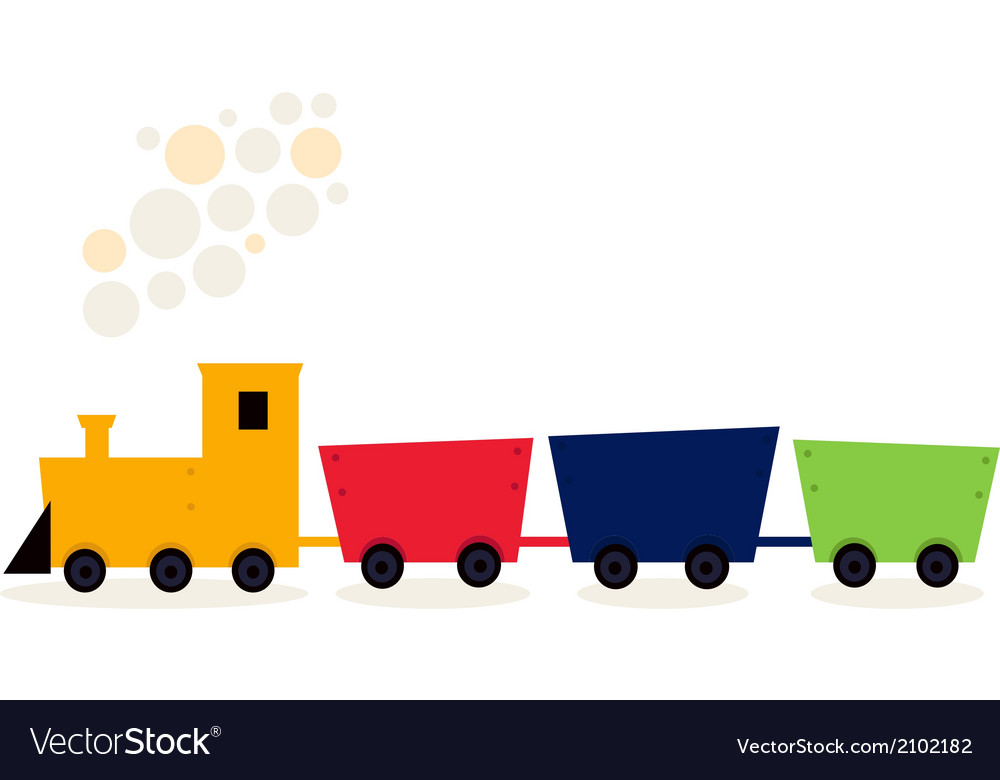 Colorful train in fresh colors isolated on white vector | Price: 1 Credit (USD $1)