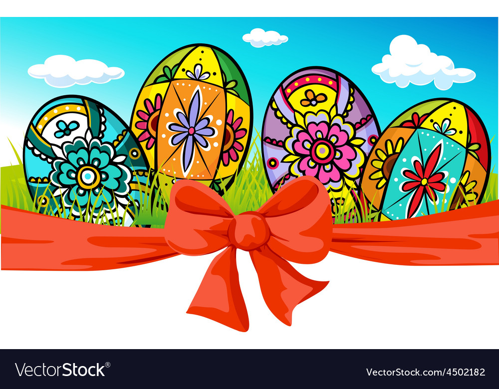 Easter banner with bow and painted egg - vector | Price: 1 Credit (USD $1)