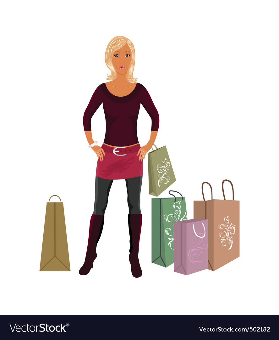Fashion shopping girl with bags vector | Price: 1 Credit (USD $1)