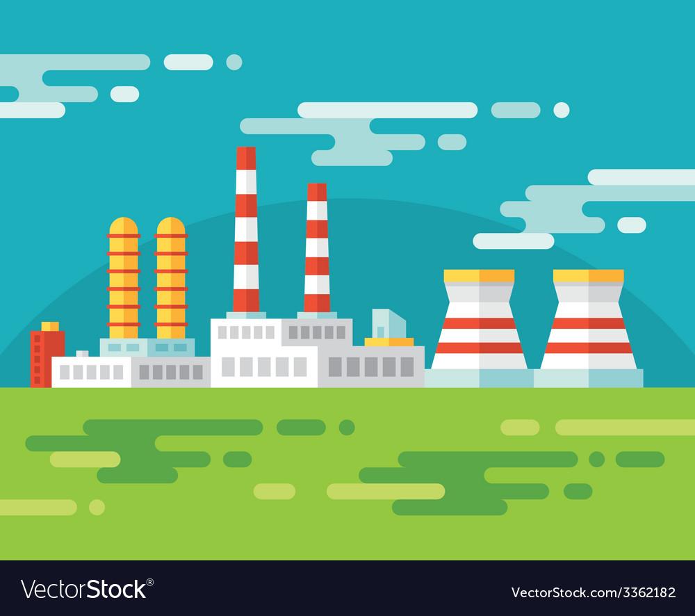 Industrial factory building - flat vector | Price: 1 Credit (USD $1)