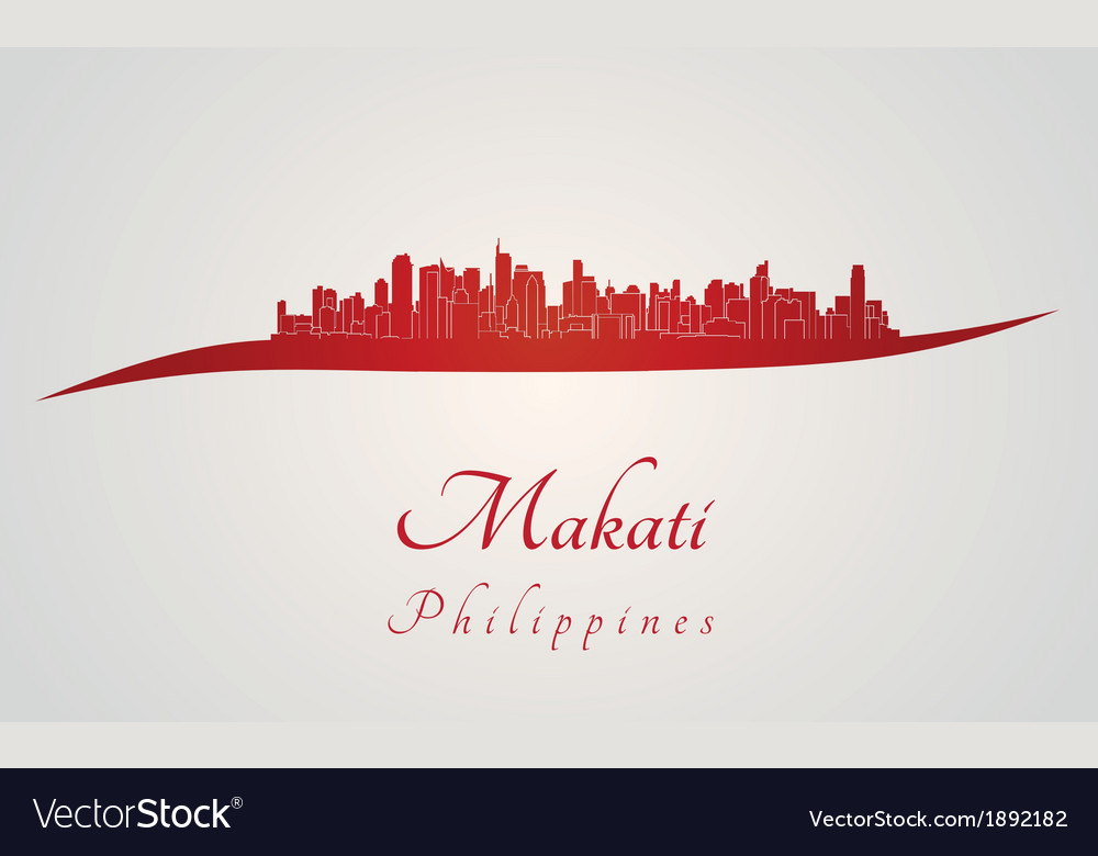 Makati skyline in red vector | Price: 1 Credit (USD $1)