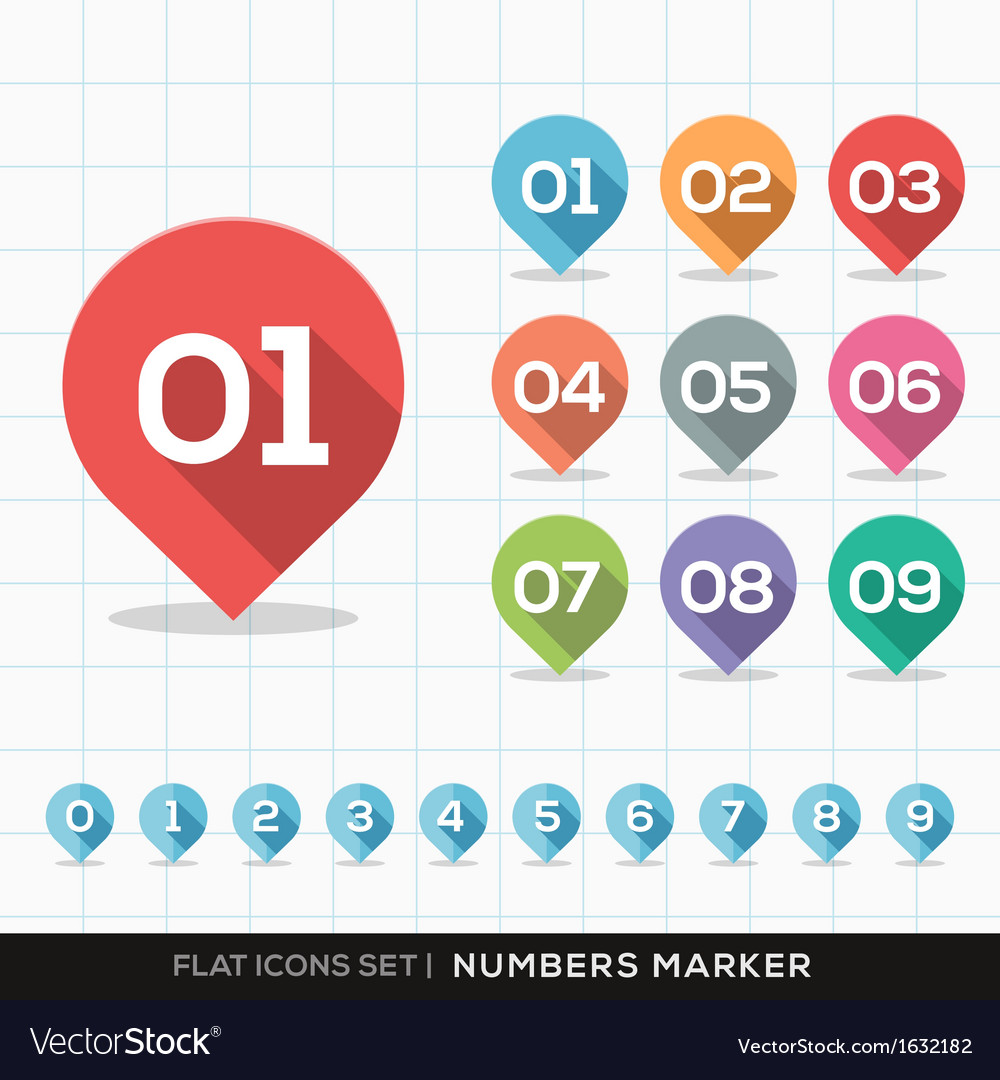Numbers pin marker flat icons set for gps or map vector | Price: 1 Credit (USD $1)