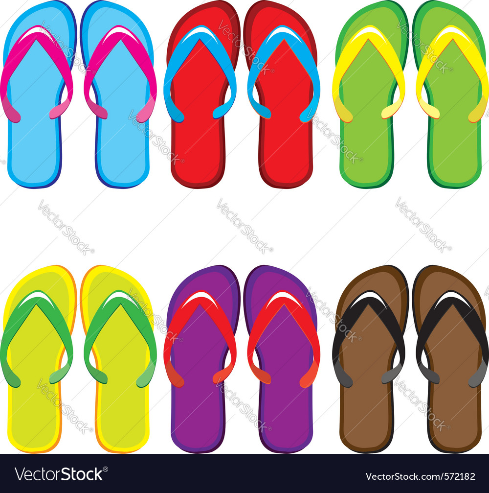Pairs of flip flops vector | Price: 1 Credit (USD $1)