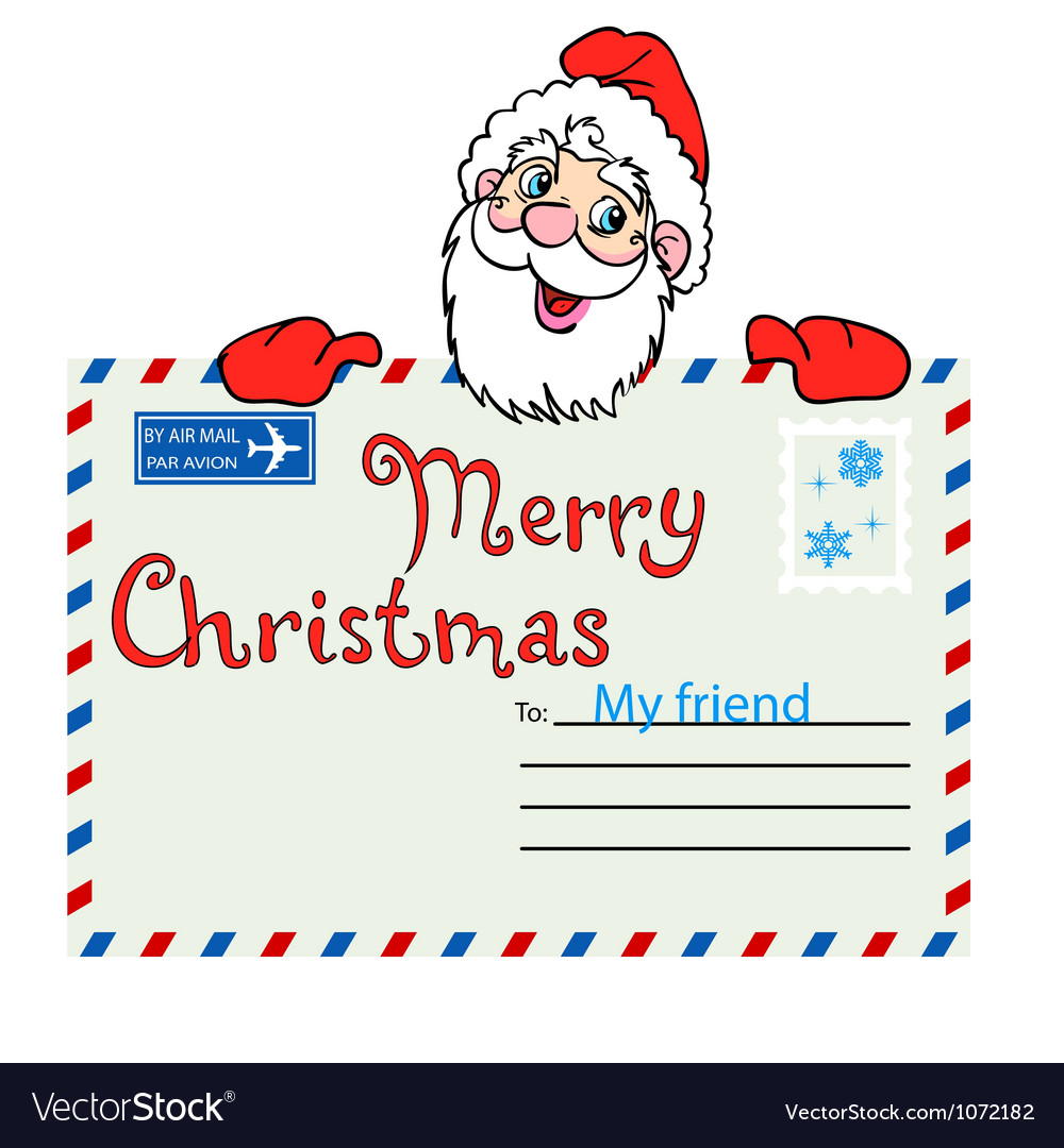 Santa claus holds a mailing envelope with seal vector | Price: 1 Credit (USD $1)