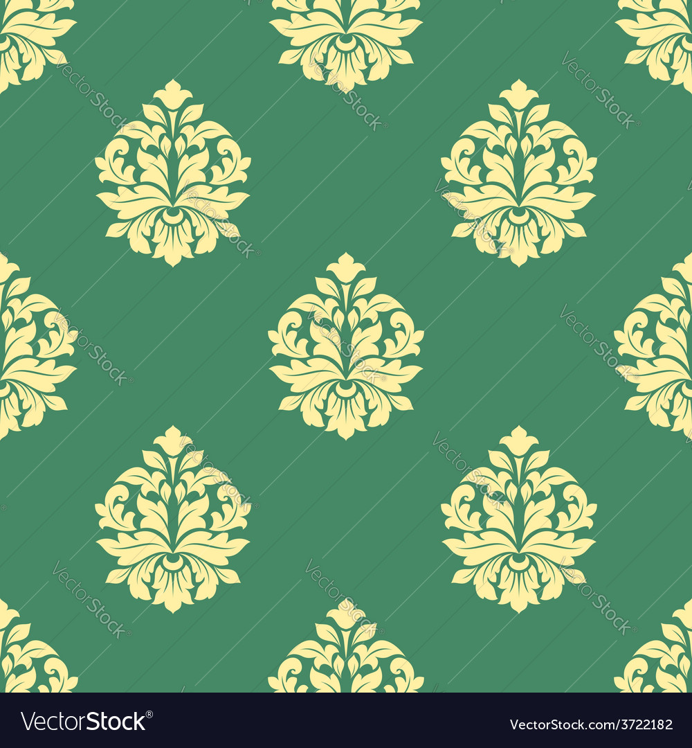 Seamless flourish pattern with dainty buds vector | Price: 1 Credit (USD $1)