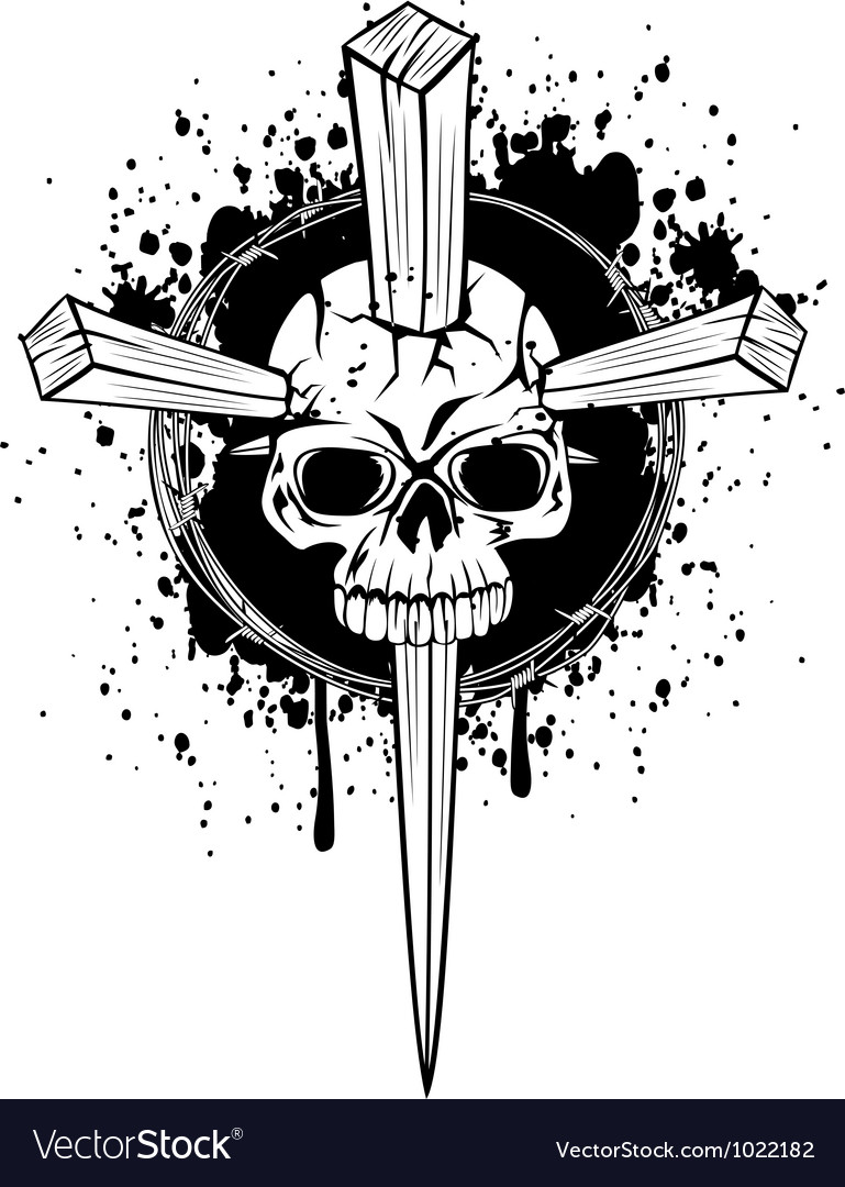 Skull punched by wooden wedges vector | Price: 1 Credit (USD $1)