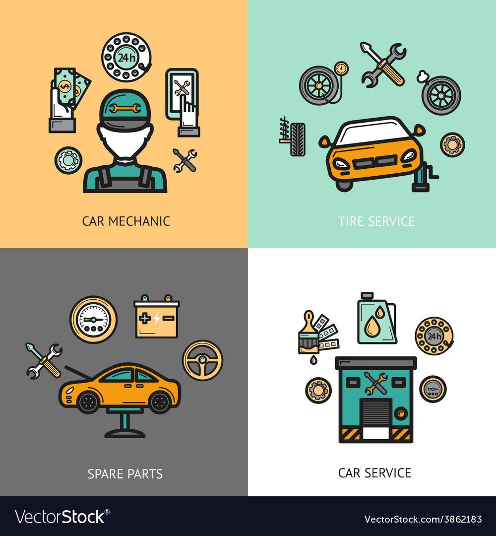 Auto service set vector | Price: 1 Credit (USD $1)