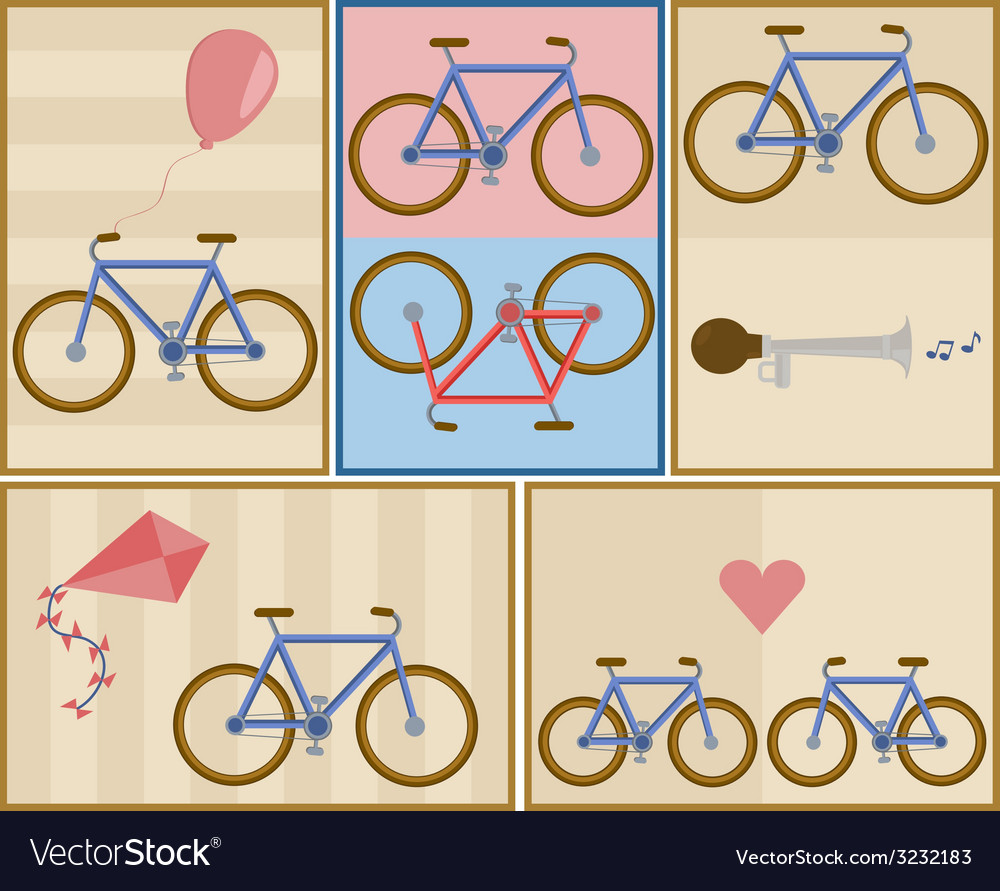 Bicycle postcard set vector | Price: 1 Credit (USD $1)
