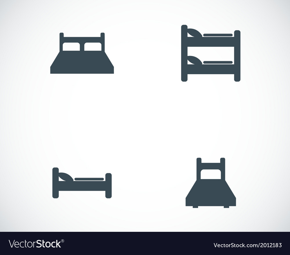 Black bed icons set vector | Price: 1 Credit (USD $1)