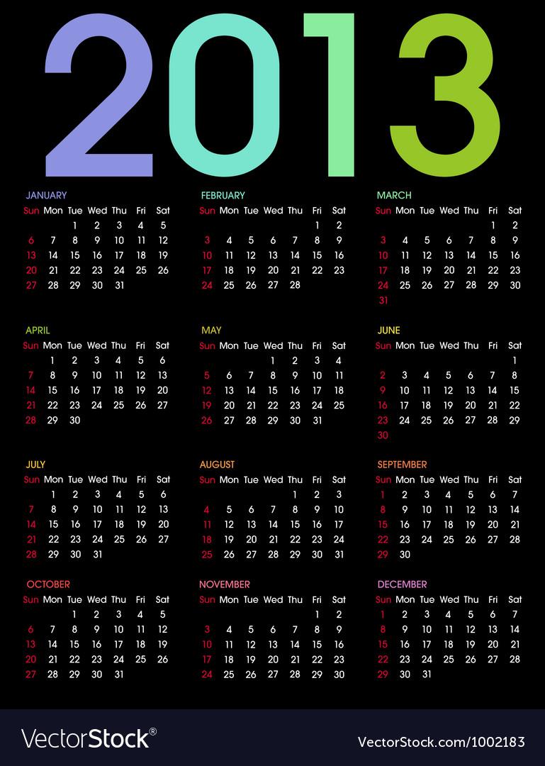 Calendar 2013 3 vector | Price: 1 Credit (USD $1)