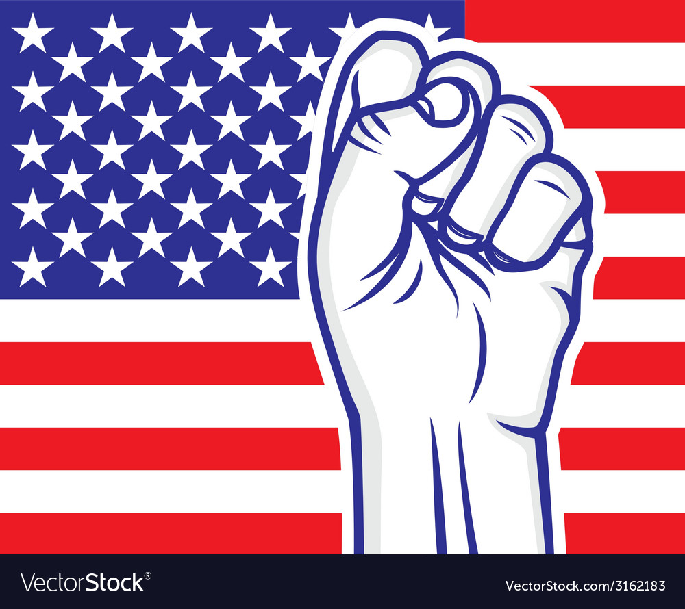 Fist american flag resize vector | Price: 1 Credit (USD $1)