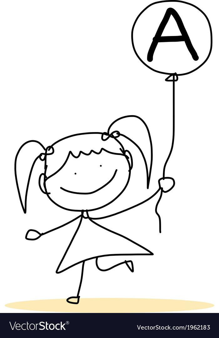 Happy alphabet hand-drawn cartoon vector | Price: 1 Credit (USD $1)