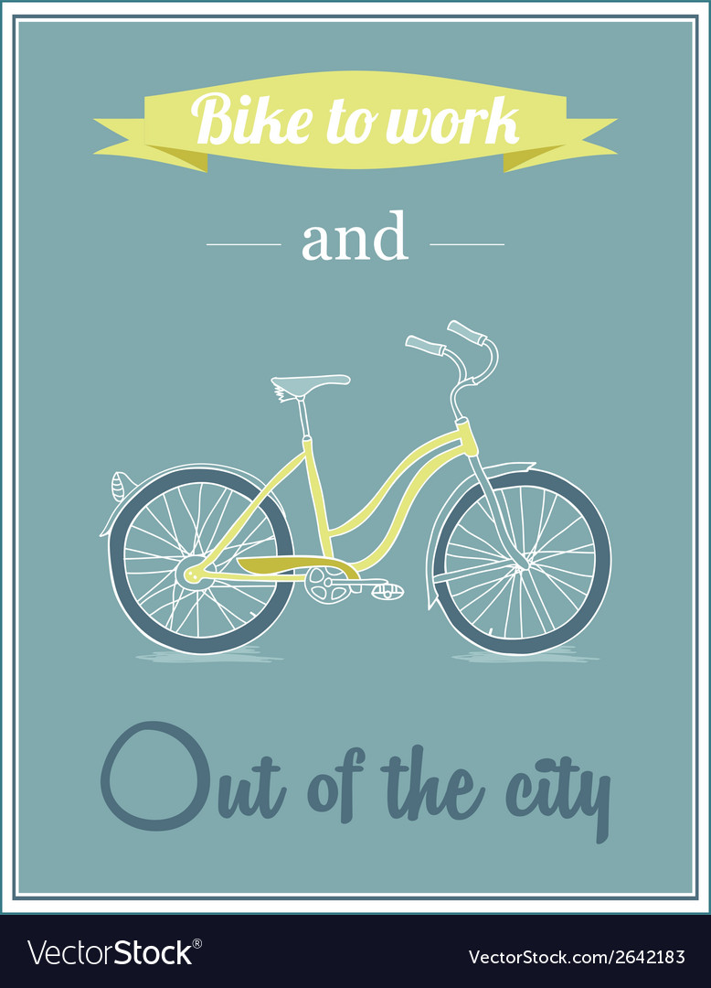 Retro poster with bicycle vector | Price: 1 Credit (USD $1)