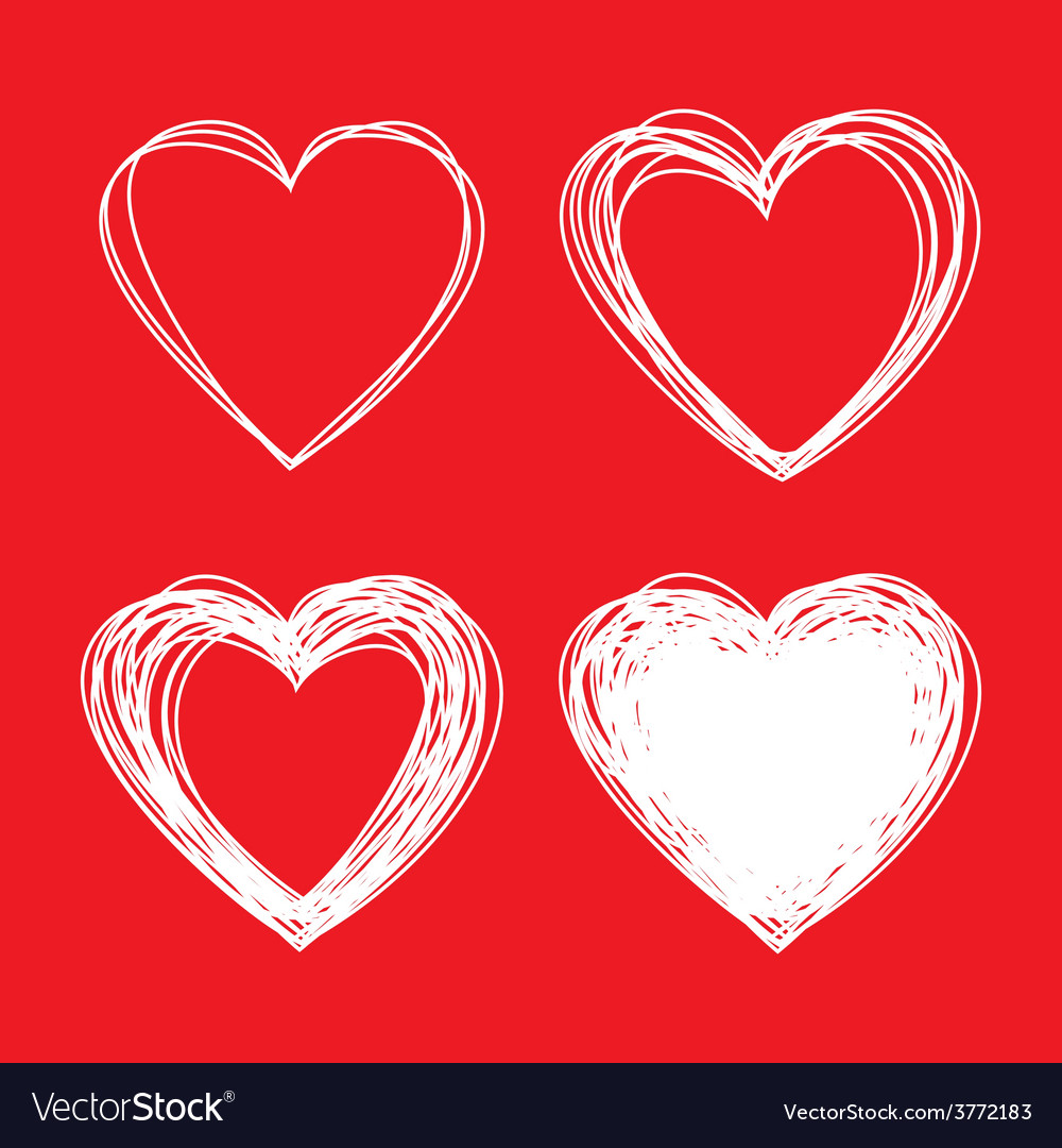 Set of white hand drawn scribble hearts vector | Price: 1 Credit (USD $1)