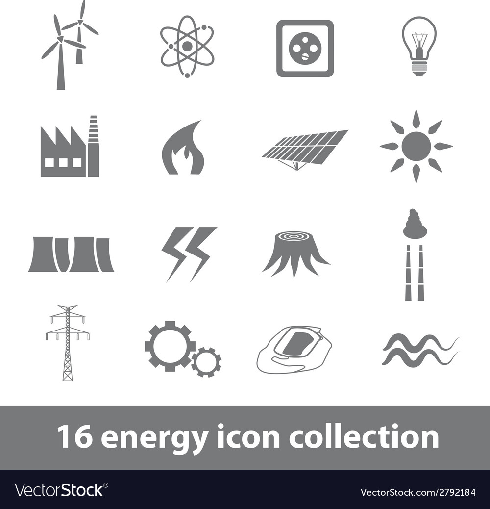 16 energy icons collection vector | Price: 1 Credit (USD $1)