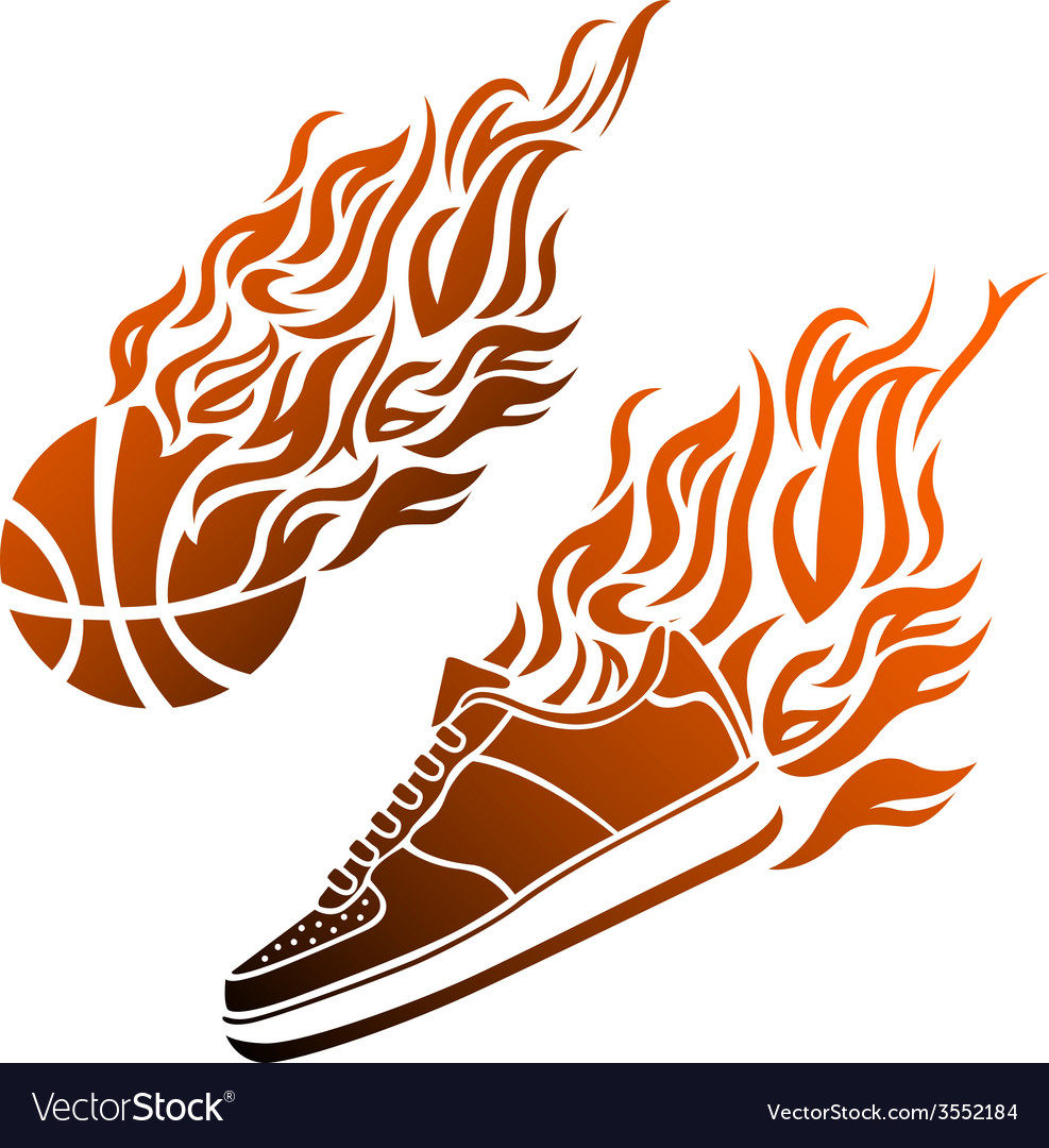 Basketball ball in flame sneakers icon color vector | Price: 1 Credit (USD $1)