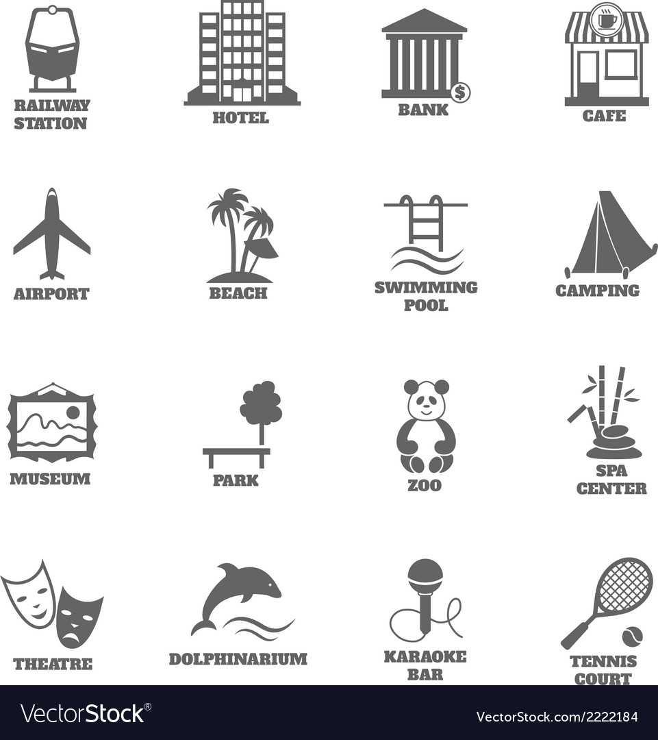 Building tourism icons vector | Price: 1 Credit (USD $1)
