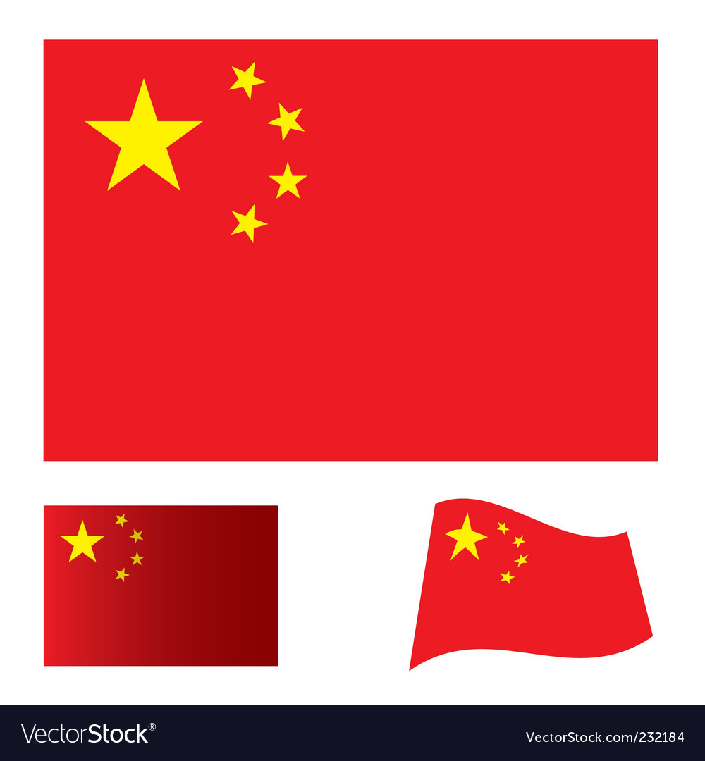 China flag set vector | Price: 1 Credit (USD $1)
