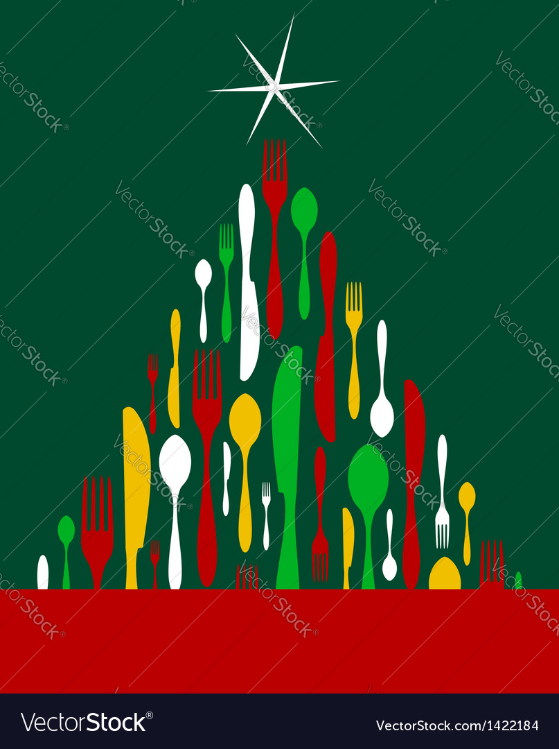 Christmas tree cutlery vector | Price: 1 Credit (USD $1)